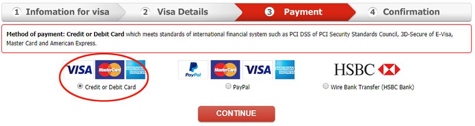 Payment through via Credit/Debit Card (Visa/MasterCard/AMEX)